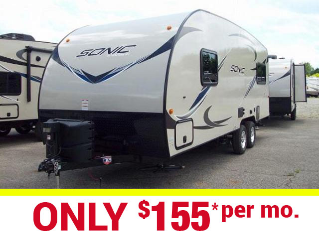 New 2017 Sonic 210VRD Light Weight Travel Trailer with Rear Lounge