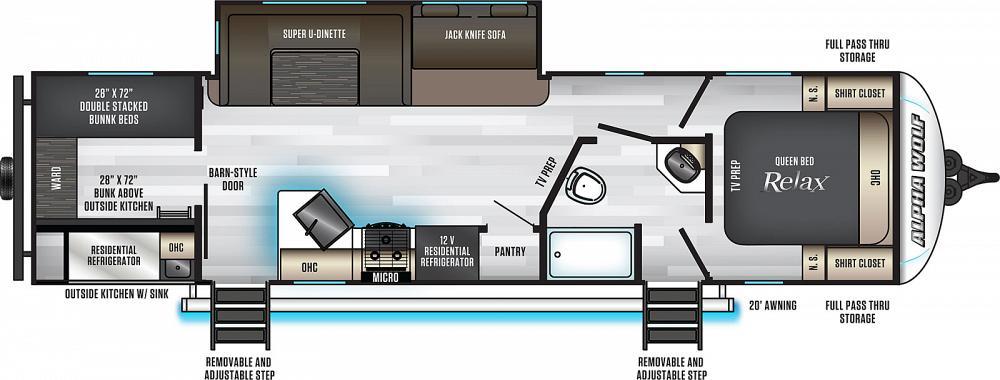 diagram of bunkhouse 2020 cherokee alpha wolf 29qb bunkhouse travel trailer for sale at  2020 cherokee alpha wolf 29qb bunkhouse