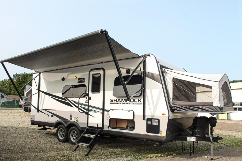 2021 Flagstaff Shamrock 233S Hybrid Trailer with 3 Tent Beds and Slide-out