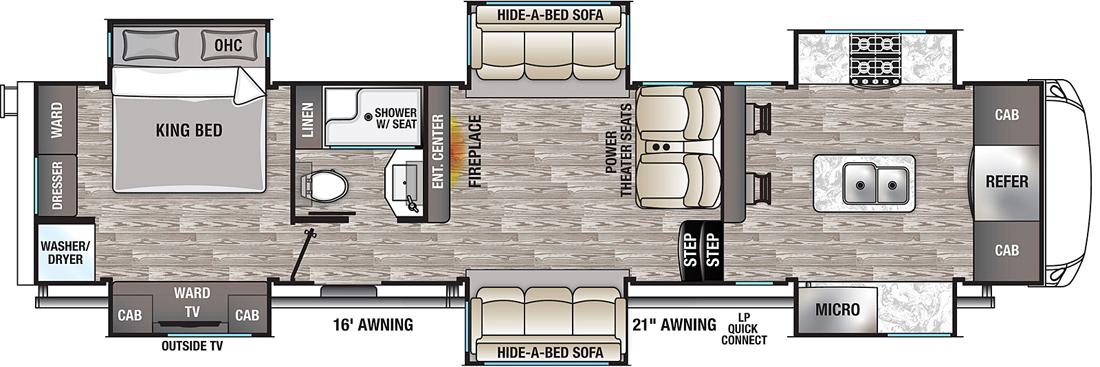 cedar creek champagne 38efk 5th wheel floorplan