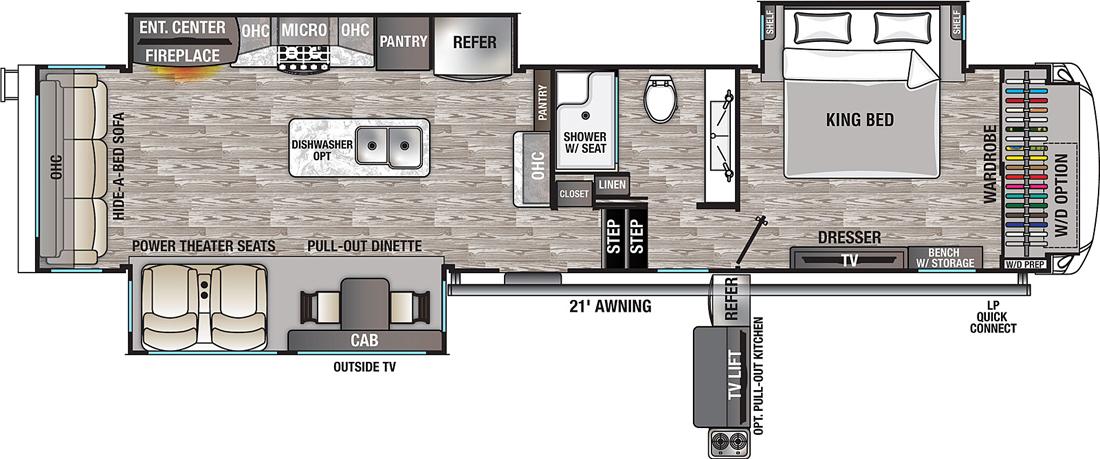 Cedar Creek Champagne 38EL 5th Wheel Floorplan