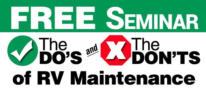 Free RV Seminars at All Seasons RV